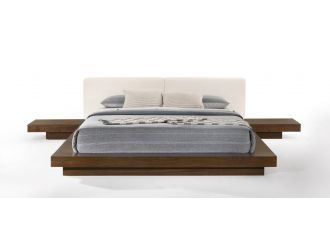 Modrest Tokyo - Contemporary Walnut and White Platform Bed