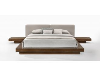 Modrest Tokyo - Contemporary Walnut and Grey Platform Bed