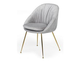 Modrest Fenton - Modern Light Grey Velvet and Gold dining Chair