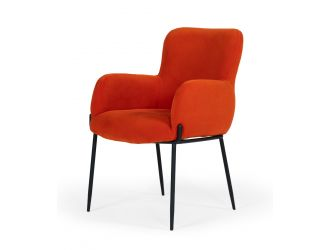 Modrest Frisco - Mid-Century Orange Velvet dining Chair