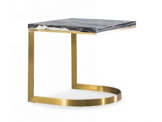 Modrest Greely - Glam Black and Gold Marble End Table