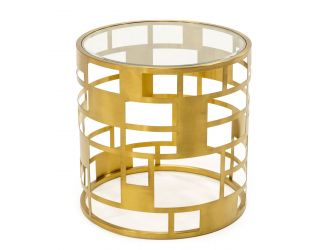 Modrest Kudo - Glam Clear Glass and Gold Glass End Table