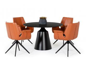Modrest Edith - Modern Round Black Ceramic Dining Table