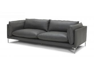 Divani Casa Harvest - Modern Grey Full Leather Sofa