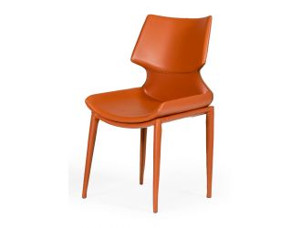 Modrest Helwig - Contemporary Cognac Eco-Leather Dining Chair  (Set of 2)