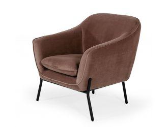 Modrest Joiner - Modern Taupe Velvet Armchair