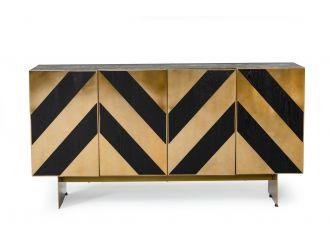 Modrest Perret - Glam Black Ash & Brushed Brass Modern Buffet