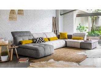 David Ferrari Natura - Italian Modern Light Taupe Fabric Sectional Sofa with Manual Recliner