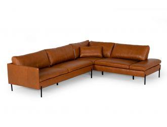 Divani Casa Sherry - Modern Cognac Leather Right Facing Sectional Sofa