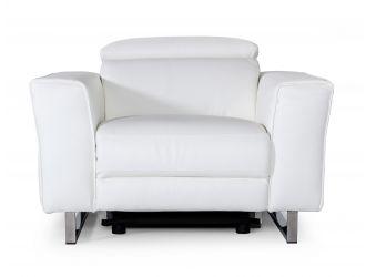 Accenti Italia Lucca - Italian Modern White Leather Armchair w/ Electric Recliner