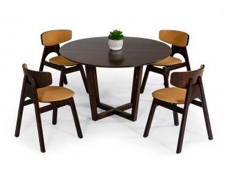 Modrest Legacy - Modern Round Solid Walnut Beechwood Dining Table
