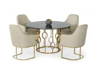 Modrest Filbert - Modern Smoked Glass & Champagne Gold Dining Table
