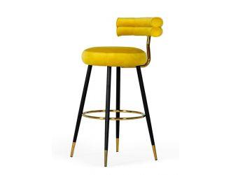Modrest Nassau - Modern Glam Yellow with Black & Gold Barstool