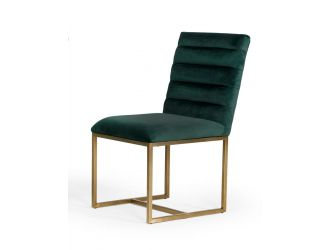 Modrest Barker - Modern Green & Brush Gold Dining Chair (Set of 2)
