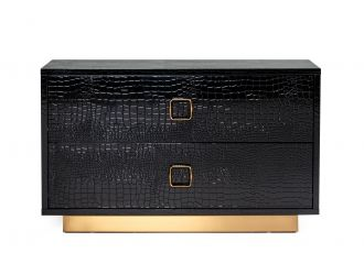 A&X Victoria - Black Crocodile Patterned Lacquer & Rosegold Nightstand