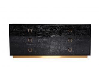 A&X Victoria - Black Crocodile Patterned Lacquer & Rosegold Dresser