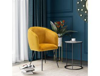 Modrest Luzerne - Modern Yellow Velvet Dining Chair