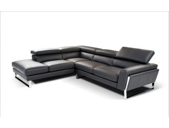 Napoli Modern Black Italian Leather Sectional Sofa