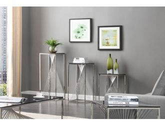 Modrest Trinity Modern 3-Piece Glass & Stainless Steel End Table Set