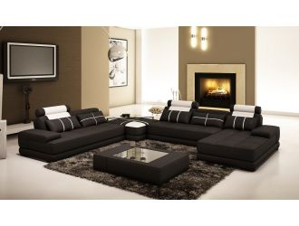 Divani Casa 5005D Modern Black and White Leather Sectional Sofa w Coffee Table