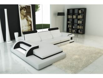 Divani Casa 6122B Modern White and Black Leather Sectional Sofa