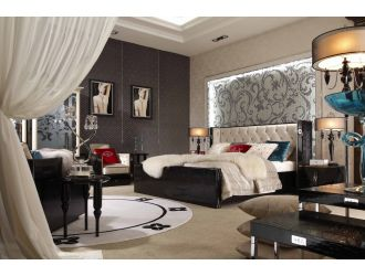 A&X Bellagio Luxurious Transitional Crocodile Lacquer Bed
