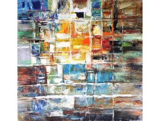 """Modrest 39"""" x 39"""" Abstract Oil Painting"""