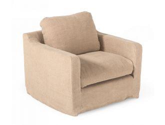 Divani Casa Admiral - Modern Classic Sand Fabric Armchair