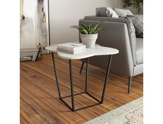 Modrest Aleidy - White Marble + Black Metal End Table