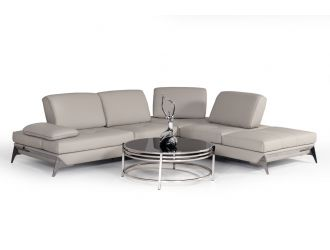 Nova Domus Andrea Modern Grey Leather Sectional Sofa