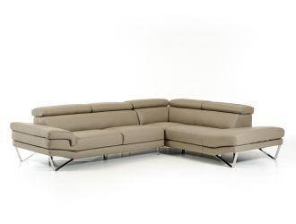 David Ferrari Aria - Italian Modern Grey Leather Right Facing Sectional Sofa