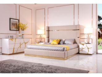Modrest Aspen - Modern Beige + Rose Gold Bed + Nightstands