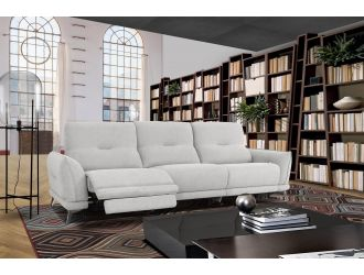 Divani Casa Austria - Modern Grey 4-Seater Fabric Sofa w/ Electric Recliners