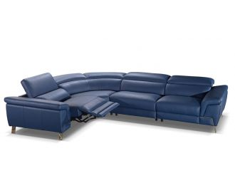 Accenti Italia Azur - Italian Modern Blue Leather Sectional Sofa with Recliner