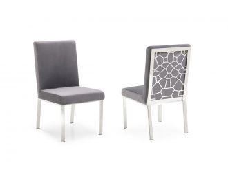 Modrest Reba Modern Grey Velvet & Stainless Steel Dining Chair (Set of 2)