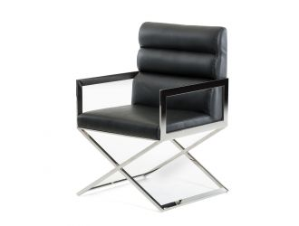 Modrest Capra Modern Black Leatherette Dining Chair
