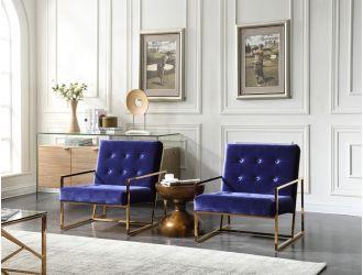 Modrest Samara Modern Blue & Gold Accent Chair