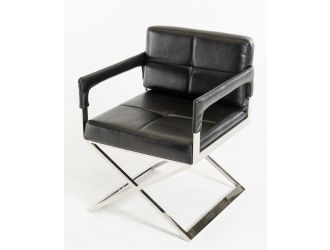Modrest Kubrick Black Bonded Leather Accent Chair
