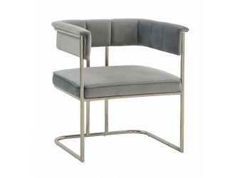 Modrest Bavaria - Modern Light Grey & Stainless Steel Dining Chair