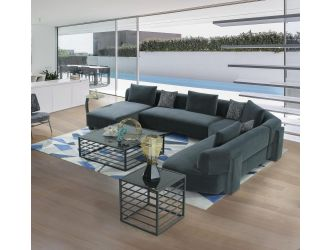 Divani Casa Bayou - Contemporary Blue Velvet U Shaped Sectional Sofa