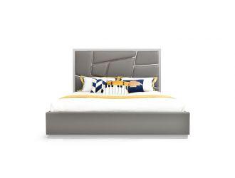 Modrest Chrysler Modern Grey Bonded Leather Bed