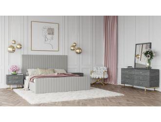 Modrest Beverly - Modern Grey Velvet Bed