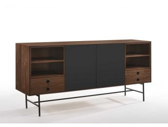 Modrest Bronson Mid-Century Modern Walnut & Grey Buffet