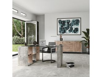 Nova Domus Boston Modern Glass & Faux Concrete Desk