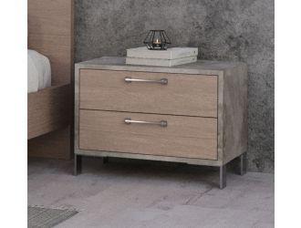 Nova Domus Boston - Modern Brown Oak & Brushed Stainless Steel Nightstand