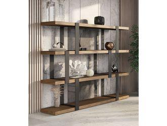Modrest Brewer - Modern Walnut & Black Bookshelf