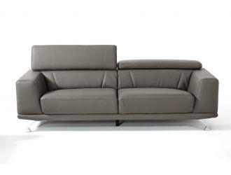 "Divani Casa Brustle - Modern Dark Grey Eco-Leather 89"" Sofa"