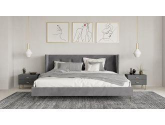 Nova Domus Bryan Modern Grey Velvet & Gold Bed
