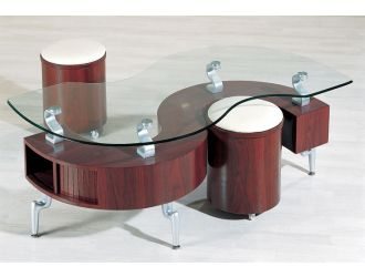 """C200 Contemporary Contemporary """"S"""" Shaped Coffee Table w/ Glass Top"""