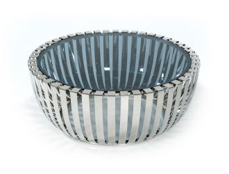Modrest Cage Modern Stainless Steel Round Coffee Table w/ Glass Top